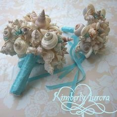 Blue seashell bouquets with satin ribbon
