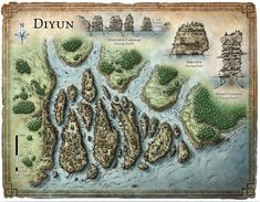 "A map of a port city created for a D&D game article titled ""Backdrop: Diyun"". © 2011 Wizards of the Coast"