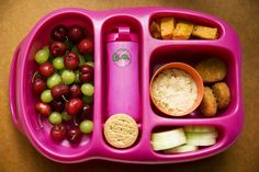 green grapes and cherries, roasted sweet potatoes, morning star veggie nuggets, hummus and cucumbers, peanut butter cookies and ice water.