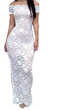 Sexy Womens White Lace See-through Off-shoulder Bodycon Bandage Maxi Dress (US M, White) WOW CLOTHES http://www.amazon.com/dp/B00LO11DCI/ref=cm_sw_r_pi_dp_9IYtub1FTSF72