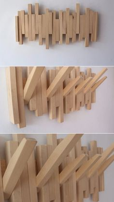 Small Wood Projects, Diy Furniture Projects, Home Decor Furniture, Wall Hangers For Clothes, Wooden Coat Hangers, Wall Decor Design, Wood Design, Wooden Rack Design, Coat Racks