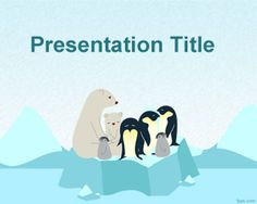 Free winter PowerPoint template with polar theme and penguin and iceberg in the slide design