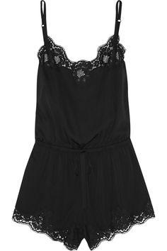 Dolce & Gabbana Lace-Trimmed Stretch Silk Playsuit, $350; theoutnet.com    - ELLE.com
