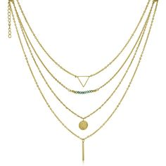 Adoriana Yellow Gold Quadruple Strand Necklace ($13) ❤ liked on Polyvore featuring jewelry, necklaces, white, multiple chain necklace, gold disc necklace, gold bead necklace, white bead necklace and gold triangle necklace