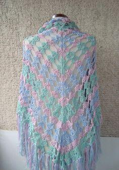 Soft Pastel  Color Cotton Triangle Shawl,