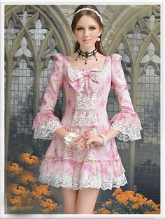 Morpheus Boutique  - Pink Flora Bow Layer Flare Sleeve Lace Hem Pleated Dress