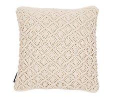 Funda de cojín de algodón Macrame, blanco - 50x50 cm