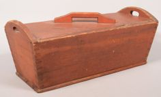 Original red paint and dovetailed construction wit Cut-out handles. x x Condition: Good with use wear and minor losses and repairs. Antique Wooden Boxes, Wood Boxes, Primitive Antiques, Country Primitive, Dough Box, Wooden Containers, Red Paint, Antique Stores, Pennsylvania