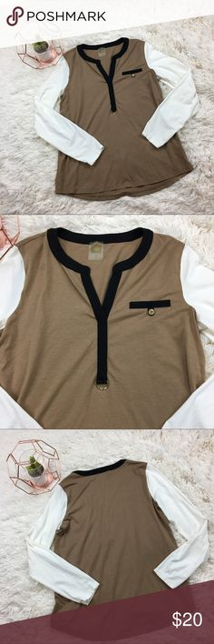 Anne Klein Multi Color Top Beautiful and soft. Anne Klein blousy top is light brown on front and back with black lining along v neck and front accent pocket. White long sleeves. Preloved. Great condition. Please refer to photos for measurements. Anne Klein Tops Blouses