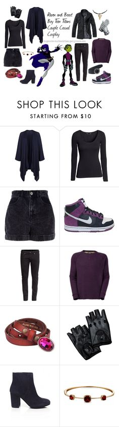 """Raven and Beast Boy Teen Titans Couple Casual Cosplay"" by cupcake-curiosities ❤ liked on Polyvore featuring Harrods, H&M, River Island, NIKE, The North Face, Ash and Dabakarov"