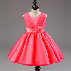Hot Sale Rose Girl Dress High Quality Bow Ball Gown Dresses New Brand Designer Girls Clothes Fashion Sweet Party Dresses