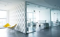 Chic Office Design For Maintaining Ideas: Exciting Commercial Office Interior Design Ideas Glass Walls Transprent Room