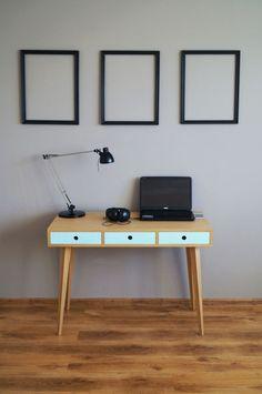 Desk ,computer desk,office desk,scandinavian style by PracowniaEMBE on Etsy Small Dressing Table, Black Drawers, Office Computer Desk, Open Shelving, Solid Oak, Scandinavian Design, Mid-century Modern, Furniture Design, Desks