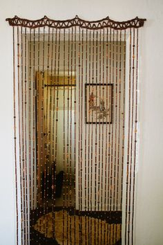 Modern beaded door curtains - enhance the beauty of your home I like beaded curtains for some odd reason. Beaded Curtains Doorway, Bamboo Beaded Curtains, Doorway Curtain, Closet Curtains, Boho Curtains, Macrame Curtain, Curtain Divider, Kitchen Curtains, Window Curtains
