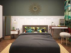 Спальня в цветах: Белый, Светло-серый, Серый, Темно-коричневый, Черный. Спальня в стиле: Минимализм.