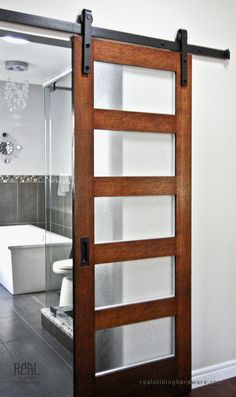 Its so open! Where to buy sliding barn door hardware Love this door. Its so open! Where to buy sliding barn door hardware was last modified: April… Sliding Door Design, Sliding Barn Door Hardware, Sliding Glass Door, Sliding Doors, Glass Doors, Rustic Hardware, Bathroom Barn Door, Master Bathroom, Open Bathroom