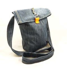 Items similar to Recycled Jeans Messenger Cross Body Bag on Etsy Fabric Purses, Fabric Bags, Denim Fabric, Denim Ideas, Recycle Jeans, Diy Bags, Crossbody Bag, Tote Bag, Recycled Denim