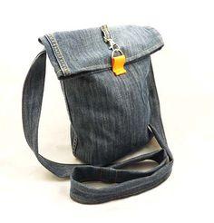 Recycled Jeans Messenger Cross Body Bag by DzikaSztuka on Etsy, $24.00