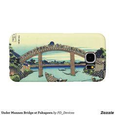 Under Mannen Bridge at Fukagawa Mount Fuji Japanese Woodblock Print Samsung Galaxy S6 Cases