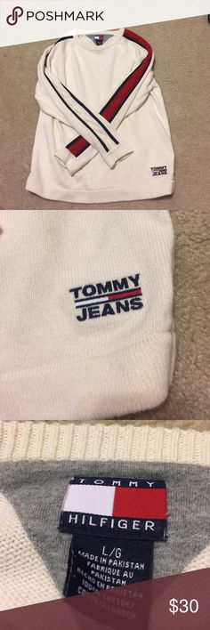 Men's Tommy Hilfiger Sweater Great condition. More of an off white color.Navy, red, and white stripes. Tag says large but fits more like a medium or a small. Please feel free to ask any questions. Tommy Hilfiger Sweaters Crewneck