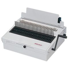 """The Renz Combi Comfort Electric Comb Binding Machine includes a foot pedal controlled electric punch capable of punching up to 20 legal sized sheets per lift. The Renz Combi Comfort also includes fully disengageable dies, an adjustable depth of punch control and a heavy duty manual comb opener. The Renz Combi Comfort is a basic electric model for documents up to 14"""" / 34 cm binding width. Very easy to use electric punching and manual binding."""