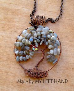 Labradorite tree of life pendant Copper wire wrapped tree of life necklace Family tree with roots Tree with nest Genealogy Celtic tree