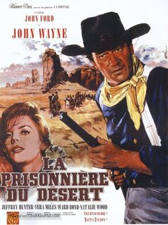 """Stock Photo - Old French movie poster of """"The Searchers"""" a 1956 American Technicolor VistaVision Western film directed by John Ford and starring John Wayne French Movies, Old Movies, Classic Movies, Shanghai, Apocalypse Now Redux, Iowa, Films Western, Warner Bros Movies, Westerns"""