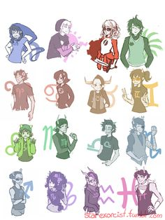 Homestuck Beta Timeline Genderswaps by =starexorcist on deviantART ( I love John, Tavros, Vriska, and Equius)