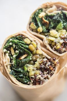 Make Ahead Super Green Vegan Quinoa Burritos  - Vegan burritos packed with all the good stuff - quinoa, mung beans, and lots of kale -  tossed with a creamy, serrano-spiked avocado dressing. (Raw Vegan Tacos)