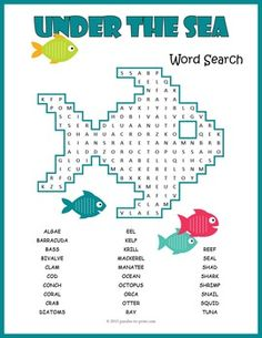 A word search puzzle featuring ocean animals vocabulary, including the names of creatures that live in the sea and words that describe their habitat.