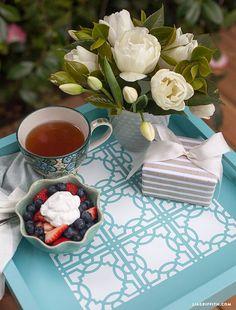 A Pretty Stenciled Tea and Coffee Tray