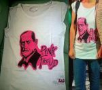 """""""Pink Freud"""" front and weared 100% cotton Size L (woman) Colour: light grey NO STENCIL  This t-shirt has been given, but it's possible to make a similar decoration on other t-shirts and top."""