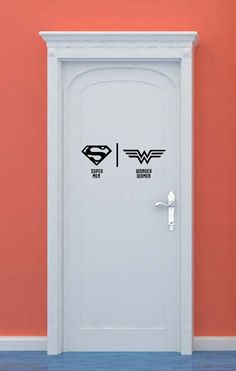 Bathroom Restrooms Sign Men Women Superman Wonder Woman Superhero Vinyl Sticker Wall Art home bedroom nursery kids decor Bathroom Doors, Bathroom Humor, Bathroom Art, Bathroom Signs, Wc Icon, Casa Hipster, Toilette Design, Deco Cool, Wonder Woman