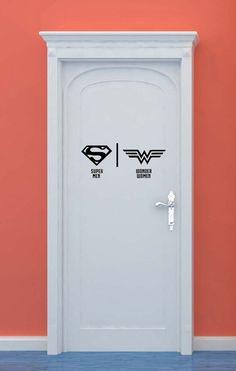 Bathroom Restrooms Sign Men Women Superman Wonder Woman Superhero Vinyl Sticker Wall Art home bedroom nursery kids decor Bathroom Doors, Bathroom Humor, Bathroom Art, Bathroom Signs, Wonder Woman, Wc Icon, Casa Hipster, Tall Cabinet Storage, Locker Storage