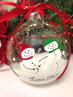 Grandparents To Be We're Expecting Christmas Snowman Snowmen Personalized Ornament Baby Pregnant Announcement by TheArtsyBohemian on Etsy https://www.etsy.com/listing/208435421/grandparents-to-be-were-expecting