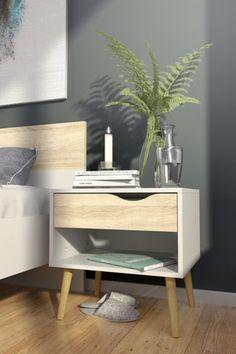 Modern Mid Century Style End Table Nightstand in White & Oak Finish – SwagPads Bedroom Furniture For Sale, Furniture Deals, Side Tables Bedroom, End Tables, Bedside Tables, Modern Bedside Table, White Nightstand, Wood Nightstand, Floating Nightstand