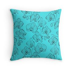 The contours of orchids . Turquoise background .
