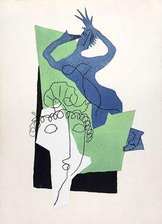 Henri Laurens, Paris, Week 6: Life Drawing. Stulized life drawing, cubism, ink&paint