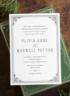 simple, sophisticated, vintage letterpress wedding invitation by hello tenfold