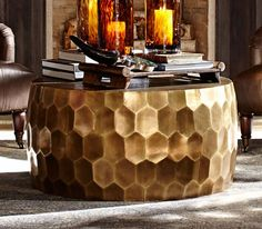 In a throwback to a design, the Vince Metal-Clad Coffee Table adds subtle gleam and dimension by Pottery Barn. Coffee Table Pouf, Coffee Table Pottery Barn, Hexagon Coffee Table, Small Coffee Table, Coffee Nook, Living Room Remodel, My Living Room, Small Living, Living Area