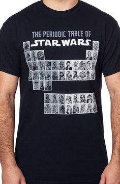 This Star Wars t-shirt features the design of a traditional Periodic Table, but includes characters from the Star Wars franchise. On a Star Wars Periodic Table, you might think that you'd see Glitters