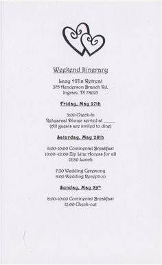 Wedding Weekend Itinerary Template - Invitation Templates Design