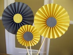Gray and Yellow Rosette Centerpieces, Wedding Table Decorations - Bridal Showers, Paper Fans - Candy Buffet Decorations, Choose your colors Wedding Table Decorations, Wedding Centerpieces, Buffet Decorations, Yellow Wedding, Wedding Colors, Wedding Ideas, Yellow Centerpieces, Paper Fans, Here Comes The Bride