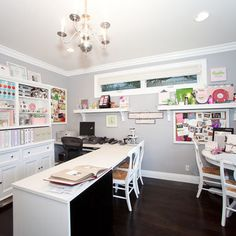 Craft room with huge work space.  Love the neutral colors that don't compete with the crafty projects.
