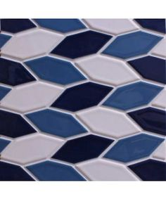from modwalls.com. Crystal Hex Pattern B (3 color repeat) French Blue, Milk, Caspian Blue