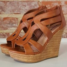 Party in these chic tan wedges