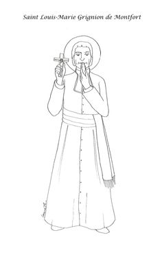 Saine Louis Marie Grignon de Montfort Catholic coloring picture page.  Feast day…