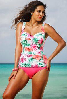 New Plus Size Tankini Swimsuit Shore Club Pink Hibiscus Twist Front