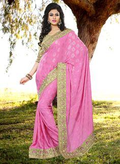 #Pink #Poly #Chinoj #Jacquard #Saree #nikvik  #usa #designer #australia #canada #freeshipping #sari