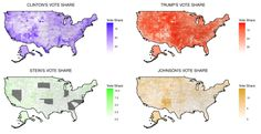Map of 4 nationwide parties vote shares in 2016 US Election.